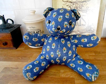 Vintage French Provincial Traditional Quilted Fabric Crafted Bear Collectible