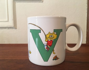 The letter V, vintage 1980s coffee mug - retro, cuppa, tea cup, office, coworker, koala bear, eighties, kitsch