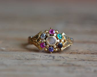 Victorian accrostic REGARD 14K and paste ring with hidden compartment