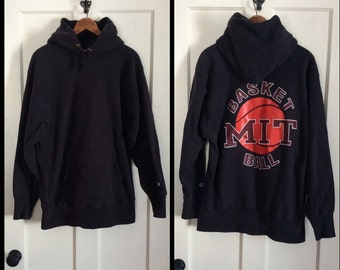 1980s Champion Reverse Weave Hoodie Sweatshirt size XL Black MIT Basketball Team back print M.I.T. Ivy League College University Boston