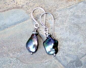 Freshwater Pearl Earrings, Silver Earrings, Freshwater Pearl Jewelry, Green Earrings, Purple Earrings, Spring Earrings, Summer Earrings