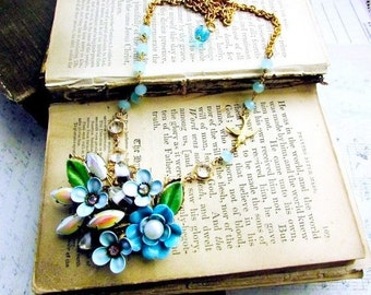 Victorian Love Letter, Enamel Flower Altered Brooch vintage Crystals and Chalcedony Gemstone Rosary Chain Vintage Assemblage Necklac