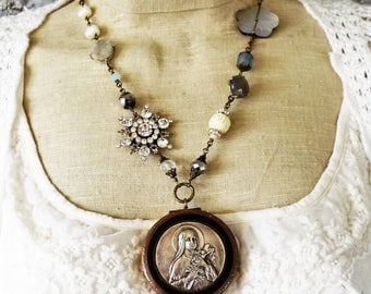 Scent of Roses,Vintage Mary Rosary Locket Silver, Brass,Vintage Rhinestones Star,Freshwater Pearls,Aqua Gemstone,Labradorite,Mother of Pearl