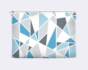 Blue zippered pouch, geometric pencil case, toiletry bag, modern cosmetic pouch, makeup bag, large cosmetic bag, small clutch