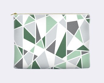 Green cosmetic bag, geometric zippered pouch, modern pencil case, mint, toiletry bag, cosmetic pouch, makeup bag, small clutch
