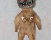 Klopp Handmade Voodoo Doll Masked Devil Tattoo Hoodoo Occult Magic Witch Curiosity Cabinet Macabre Poppet Unique Repurposed Grungy