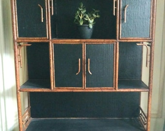 Faux Bamboo Book Shelf /Wall Unit/ Grass cloth Tortoise Finish