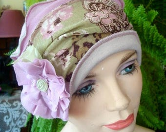 Womens Chemo Hat Chemo Headwear soft Flapper pink green  Chemotherapy Alopecia Beanie with Flower