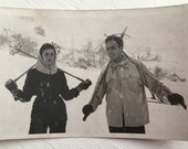 Vintage Ski Photo Postcard - Skier - Greeting Card - Paper Ephemera - Ski - Ski Graphic - Souvenir