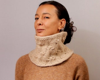Knit Scarf Infinity, Knit Cowl, Beige Crochet & Knit Snood Scarf, Tube Loop Scarf, Cozy, Merino Wool Alpaca Winter Fashion Women Accessories
