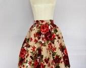 1950s Floral Flower Rose Knee Length Circle Skirt High Waist Pin Up Rockabilly Retro Swing XS/S