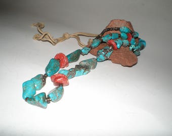 Turquoise & Coral Santo Domingo Nugget Heishi Necklace Native American Vintage UNISEX Earthy Tribal Style