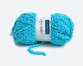 Turquoise Blue Yarn , Sundance Spa Sations Chenille Type Crochet Yarn , Bulky Soft Fuzzy Cozy Great for Baby Knit Projects