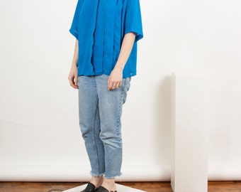 Short Sleeve Silky Top / Cobalt Blue Bold Top / Retro Crepe Top