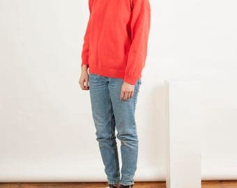 Coral Spring Sweater / Orangish Red Retro Jumper  / Comfy and Warm Jumper