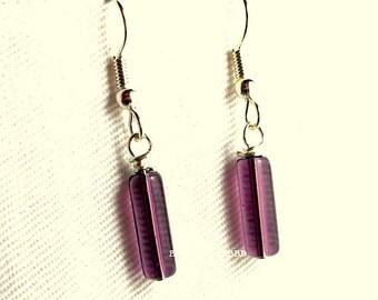Burgundy Earrings Dangle Drop earrings Surgical Steel French Hooks Purple