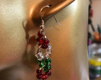 Red, white and green glass beaded earrings