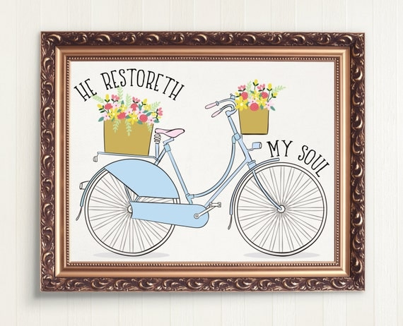 He Restoreth My Soul Bible Verse Print, Psalm 23 Scripture Download, Bicycle Art Instant Download, 8 x 10 Digital Print, Psalm 23, Pink Blue