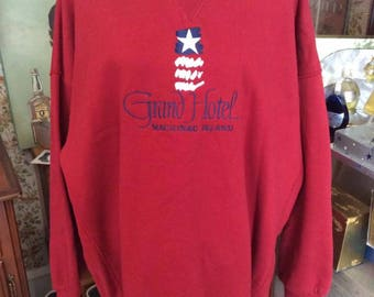 Vintage 1990s Sweatshirt Grand Hotel Mackinac Island Michigan Brick Red Navy Blue By J. America Vintage Apparel Over Sized OS Size XXL
