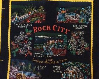 Vintage 1950s 1960s Pillow Case Cover Black Velvet Tourist Souvenir ROCK CITY Lover's Leap Atop Lookout Mountain Tennessee