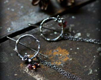 Nourish Earrings - Cast Natural Succulents & Tundra Sapphires - Destroyed, Long, Recycled, Dangle, Chain, Rustic, Nature, Gifts for Her