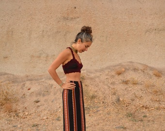 Vintage Ethnic Tribal BLACK MAXI Skirt Judith Auburn