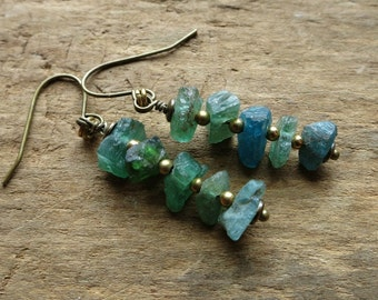Rough Apatite Dangle Earrings, teal and gold rustic earrings with brass and raw blue green stone chips, Bohemian jewelry