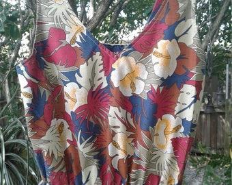 Early 80s MARLENE—Hawaiian Print Tank Dress—Elastic Waist—Hibiscus Print—Size 6
