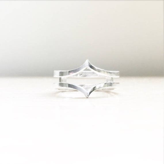 Minimalist Space Double Ring or Ring Enhancer Select Your Gold