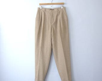 Vintage 80's high waisted wool pleated pants, herringbone pants, size 16 / 14