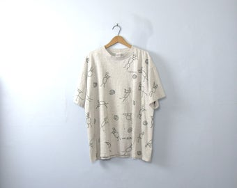 Vintage 90's graphic tee, abstract art shirt, size XL