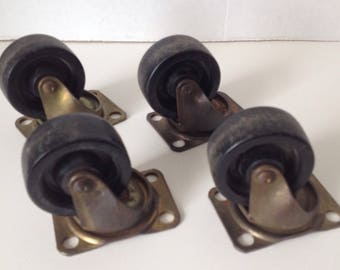 "Rotating Plate Caster Wheels Lot of 4 Industrial 1 1/2 Inch Wheel Marked ""7B"" Vintage Furniture Hardware"