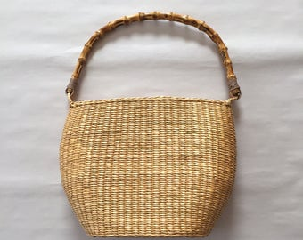 jane birkin woven basket purse | bamboo handle zipper woven purse