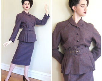 Vintage 1950s 1940s Plum Purple Tweed Wool Skirt Suit / 50s 40s Belted Peplum Jacket and Skirt Suit Set Ensemble