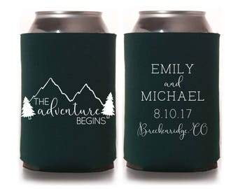 Fall Wedding Favors - Rustic Mountain Wedding Personalized The Adventure Begins Can Coolers, Destination Favors for Guests, Wedding Coolies
