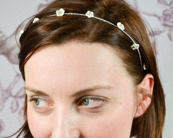 Bridalheadband Tiara Silver White Porcelainflowers