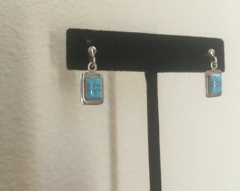 silver inlay turquoise STERLING silver dangle drop stud earrings women 90s fine craftsmanship native jewelry gift present geometric stone os