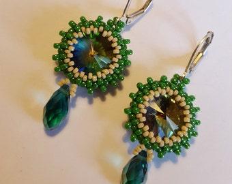 Green Earrings, Green Crystal, under 50, green Crystal, Gift for , gift for teens, birthday gift, elegant earrings, gift for girl