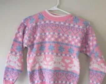 Vintage 90s Pastel Teddy Bear Size 5/6 Girls Sweater