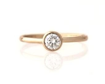 Petite Moissanite Ring - Low Profile Engagement Ring - 14k Yellow Gold, Rose, Palladium White Gold, 950 Palladium - Wedding Promise Ring