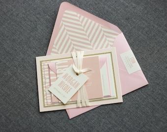 "Pink Bat Mitzvah Invitations, Glitter Baby Shower Invitation, Modern Wedding Invites, Blush and Gold Invitations - ""Modern Mitzvah"" FP-2L"