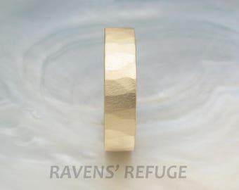 rustic wedding band -- organic wedding ring -- 5mm wide, yellow gold