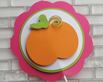 Little Pumpkin Cake Topper in Hot Pink and Orange for Birthday or Baby Shower