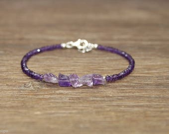 Amethyst Nugget Bracelet, Beaded, Stacking, Amethyst Jewelry, Gemstone Bracelet, February Birthstone