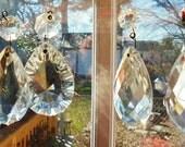 antique lead crystal glass prisms 5 five lot chandelier findings vintage decor suncatcher