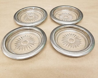 Set of 4 Silver and Glass Coaster Set