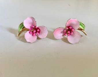 Pink Petals! - Super adorable! - 1960s era clip ons