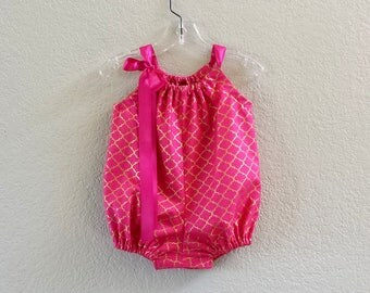 New! Baby Girl Bubble Romper - Deep Pink with Gold - Infant Sun Suit - Baby Romper in Pink & Metallic Gold - Size Nb, 3m, 6m, 9m, 12m or 18m