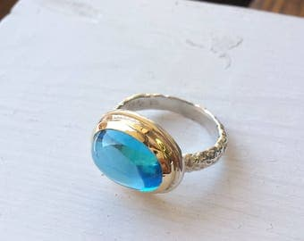 Big Blue Topaz Statement Ring - Rustic Band - 14kt Gold and Sterling Silver - Oval Cabochon - Size 7