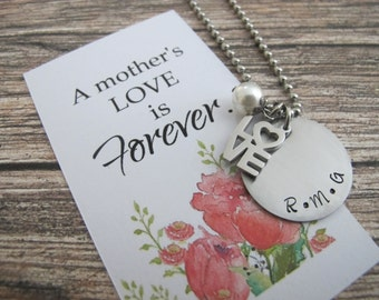 Gifts for Mom, Mothers necklace, Mothers Day Gift, Initial necklace, Custom hand stamped initials, Birthday Gift for her.
